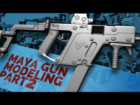 GUN MODELING in MAYA part 2 - bevel, mesh smooth, & boolean