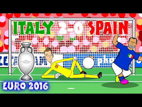 Italy vs Spain 2-0 (Chiellini Pelle Goal)(Conte kicks ball)(Buffon Crossbar)(Goals Highlights)