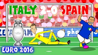 Italy vs Spain 2-0 (Chiellini Pelle Goal)(Conte kicks ball)(Buffon Crossbar)(Goals Highlights)