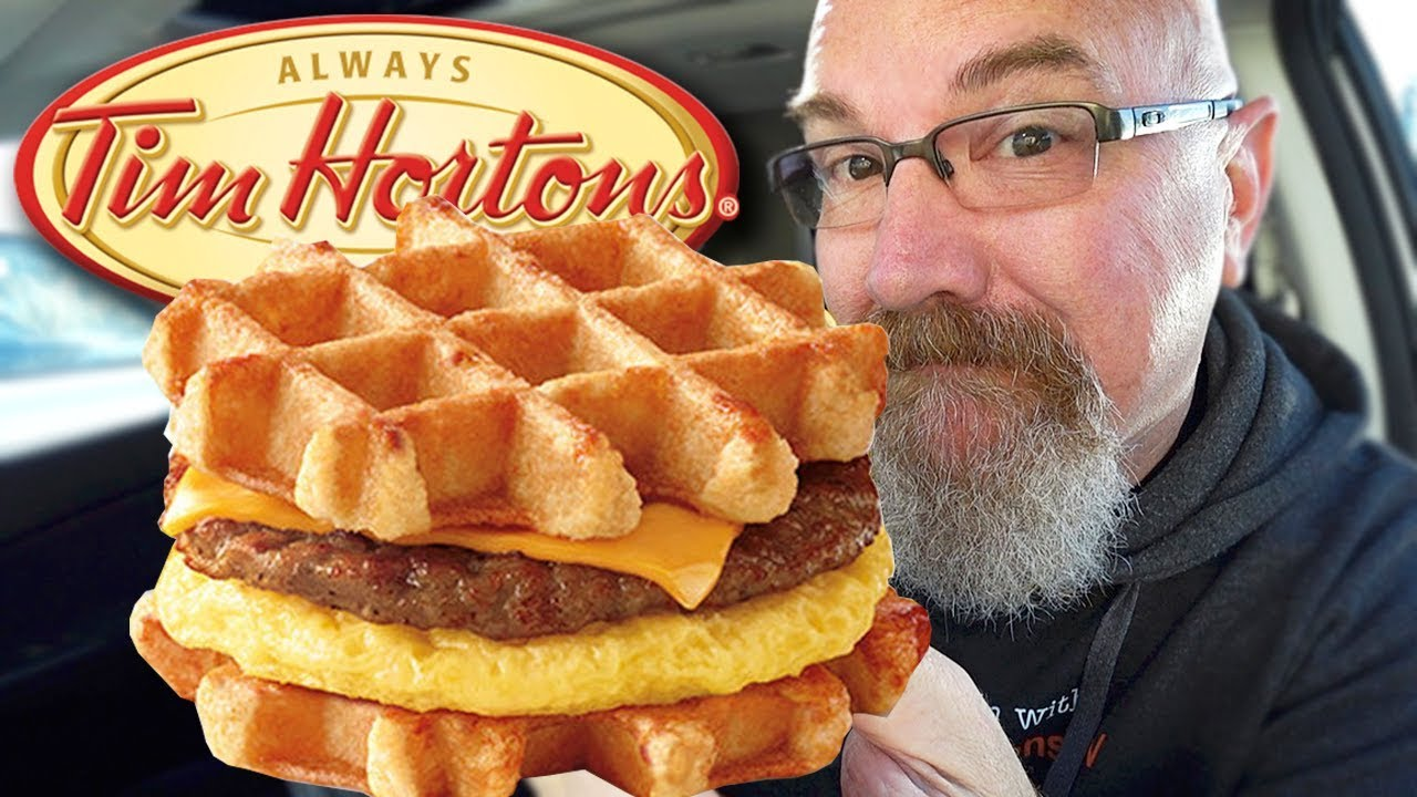 Tim Hortons ☕ Belgian Waffle Breakfast Sandwich • Food Review