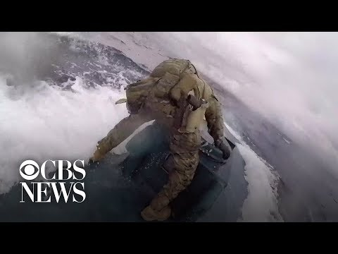 Crazy Video of US Coast Guards Boarding Drug Smuggling Submarine