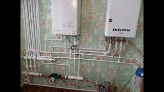 видео Схема отопления частного дома с газовым котлом