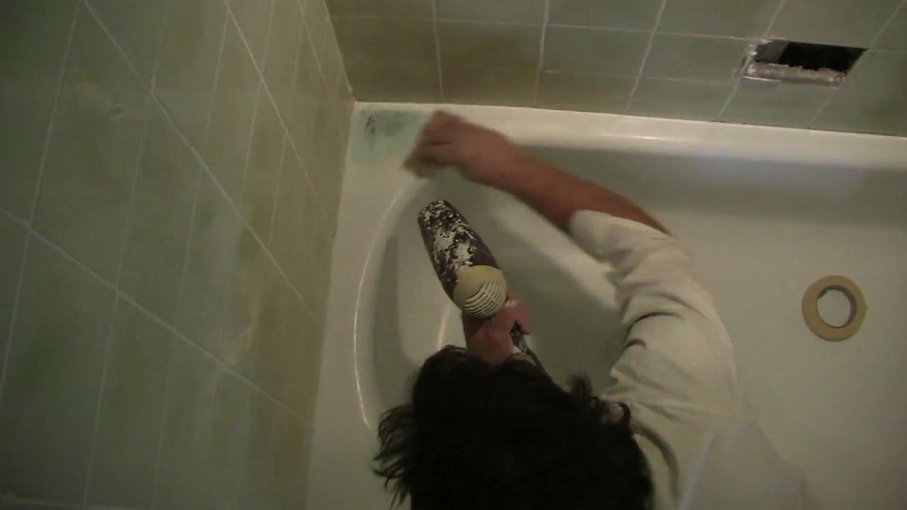 1ère journée) réémaillage de baignoire, procédé accéléré, bain ... - Repeindre Une Baignoire Avec Resinence