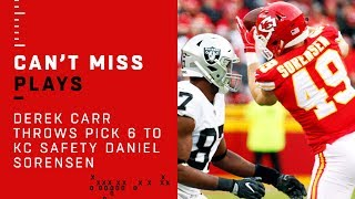 Derek Carr Throws Pick 6 to KC Safety Daniel Sorensen!