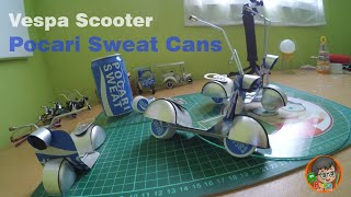 How to Make toy Vespa Scooter Out Of Pocari Sweat Cans | DIY TOYS !