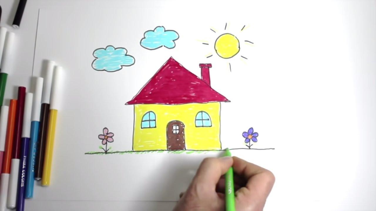 kolay ev çizimi - ev nasıl çizilir - ev çizimi - ev ağaç güneş çizimi