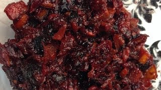 Fresh Persimmon, Cranberry, and Pomegranate Chutney