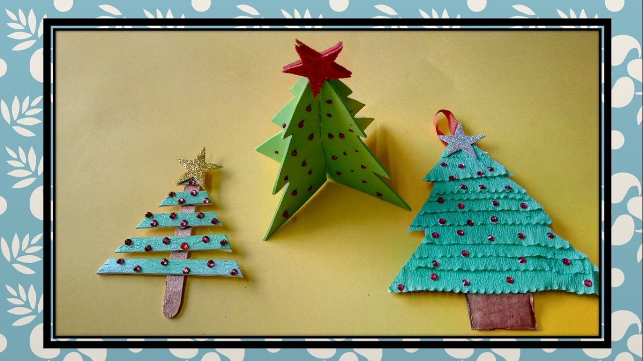 Christmas Crafts :: 3 Different ways to make Christmas tree for Kids ...
