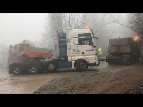 Two Man Trucks Pulling The 155 Tones Tesmec 1675 Trencher - Amazing Heavy Transports