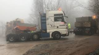 Two Man Trucks Pulling The 155 Tones Tesmec 1675 Trencher - Amazing Heavy Transports