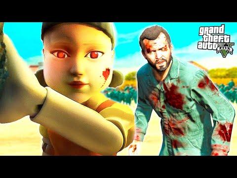 GTA 5 Игра в Кальмара #2 - КУКЛА УБИЙЦА! БЕГИ АККУРАТНО! (Моды ГТА 5)