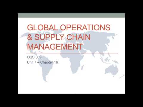 Global Operations & Supply Chain Management - OBS 369 Unit 7