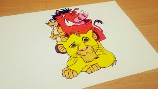 How To Draw Lion King Simba, Timon and Pumbaa   Lion king drawing step by step for beginners
