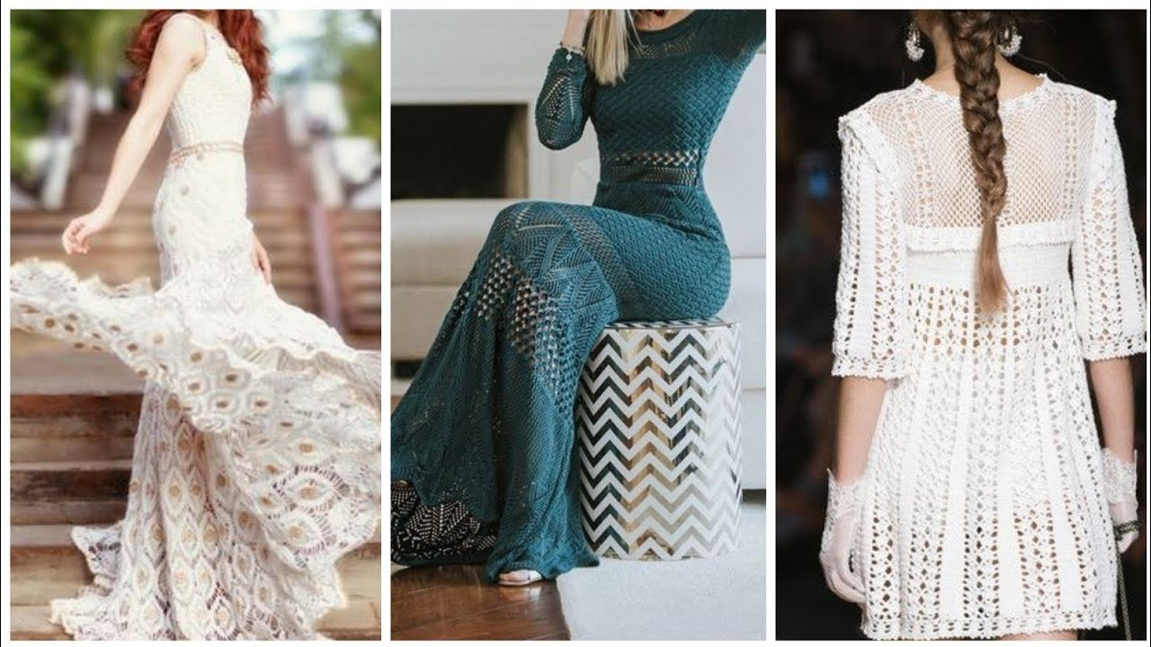 High Fashion Crochet Evening dresses for Ladies.Floor length Crochet Dresses
