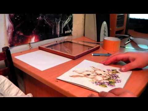 Оформление вышивки в рамку под стекло
