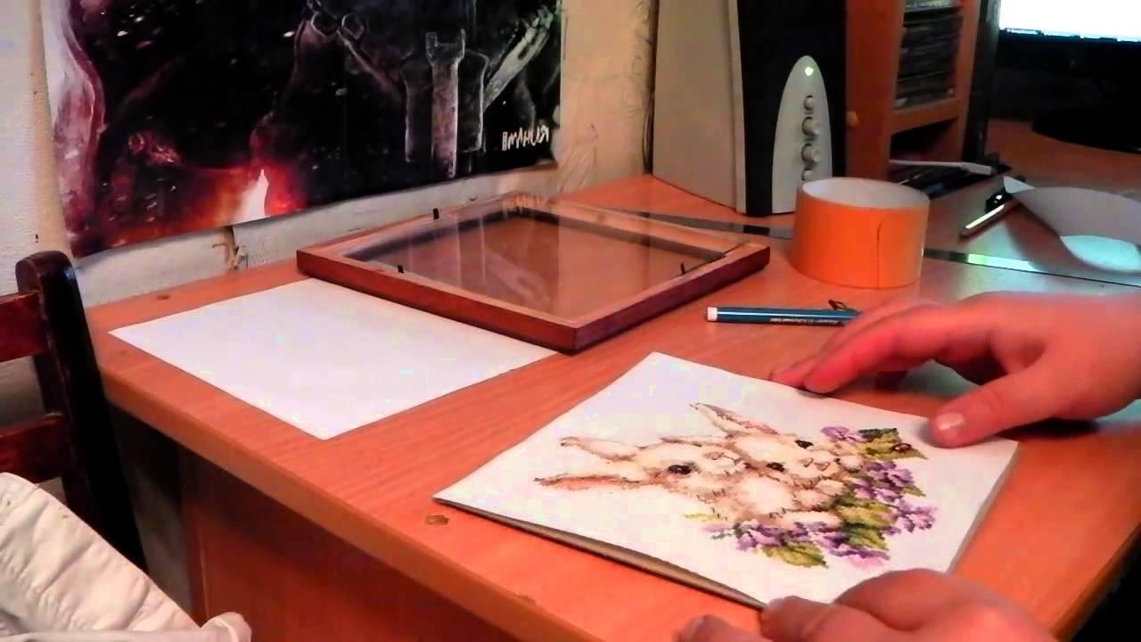 Видео оформление вышивки в рамку