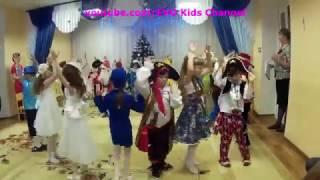 Новогодний утренник в детском саду. Танцы, конкурсы.