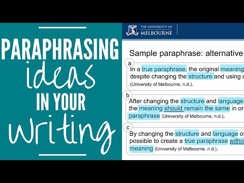 Paraphrasing Ideas in your Writing