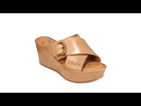 "Born ""Curstyn"" Leather Platform Wedge Sandal"