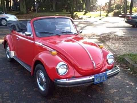 Old 1978 Red VW California Convertible Vintage Beetle Bug, Driving in Portland Oregon, Part 2