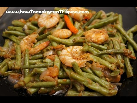Filipino Food Ginisang Sitaw sa Hipon Prawns Shrimp Beans Tagalog English Pinoy cooking