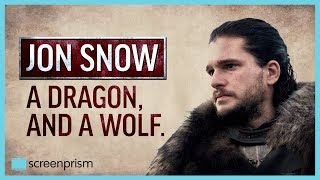 Game of Thrones: Jon Snow, a Dragon and a Wolf