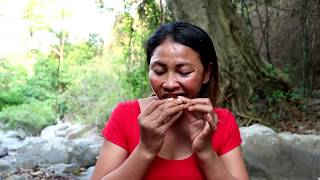 Catching small crab in waterfall & fried on clay for food - Cooking small crab eating delicious #66