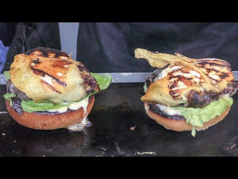 Gourmet Bourguignon Burgers with French Melted Cheese. London Camden Town. World Street Food