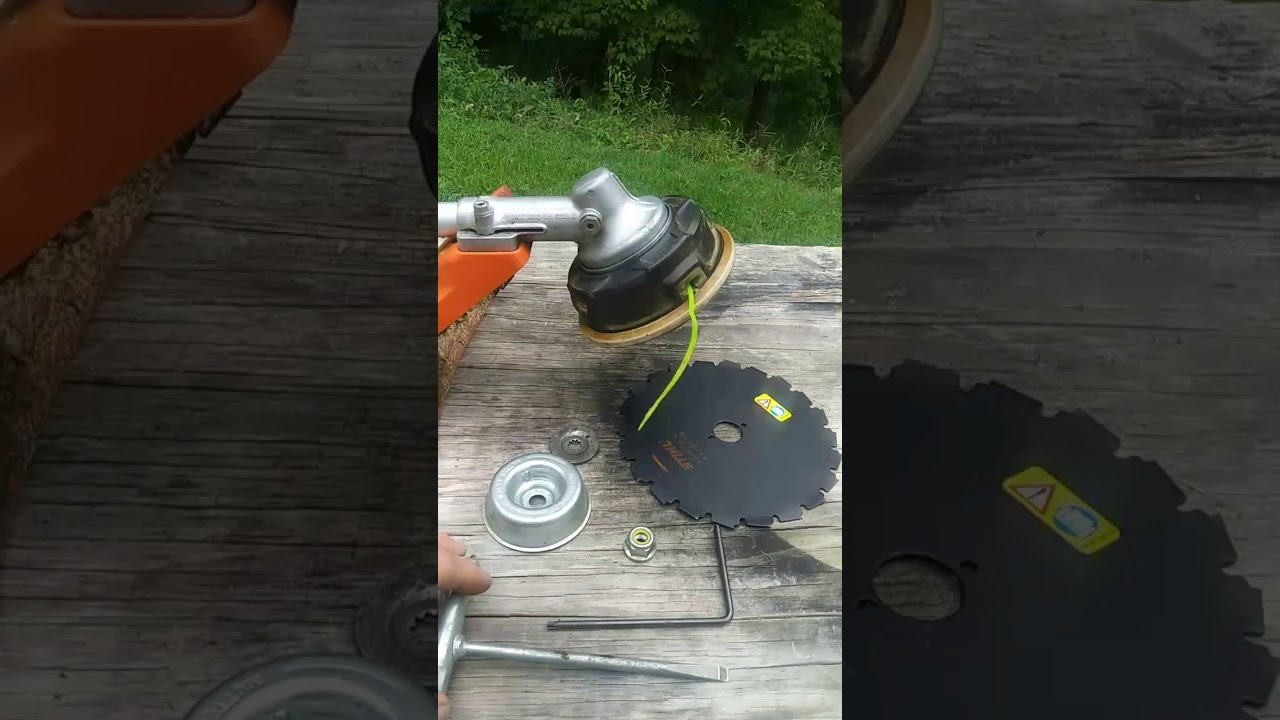 Brush blade installation on a stihl weedeater - YouTube
