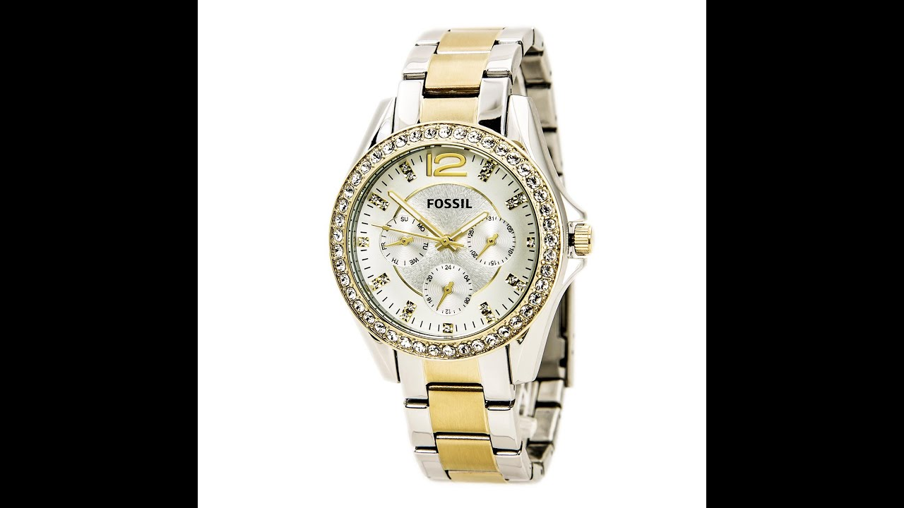 f0c77a8289c Fossil ES3204 Women s Riley Silver Dial Two Tone Steel Multifunction Watch  Review Video