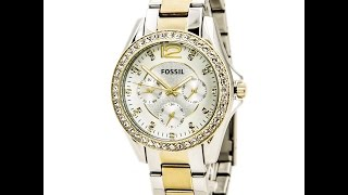 Fossil ES3204 Women's Riley Silver Dial Two Tone Steel Multifunction Watch Review Video