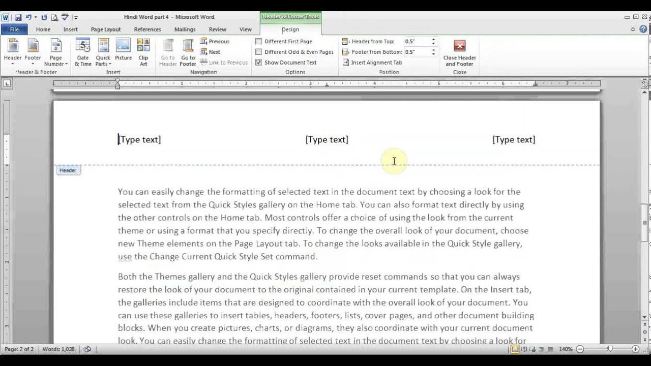 Hindi Microsoft Word pt 5 (Hyperlink, Bookmark, Header/Footer ...