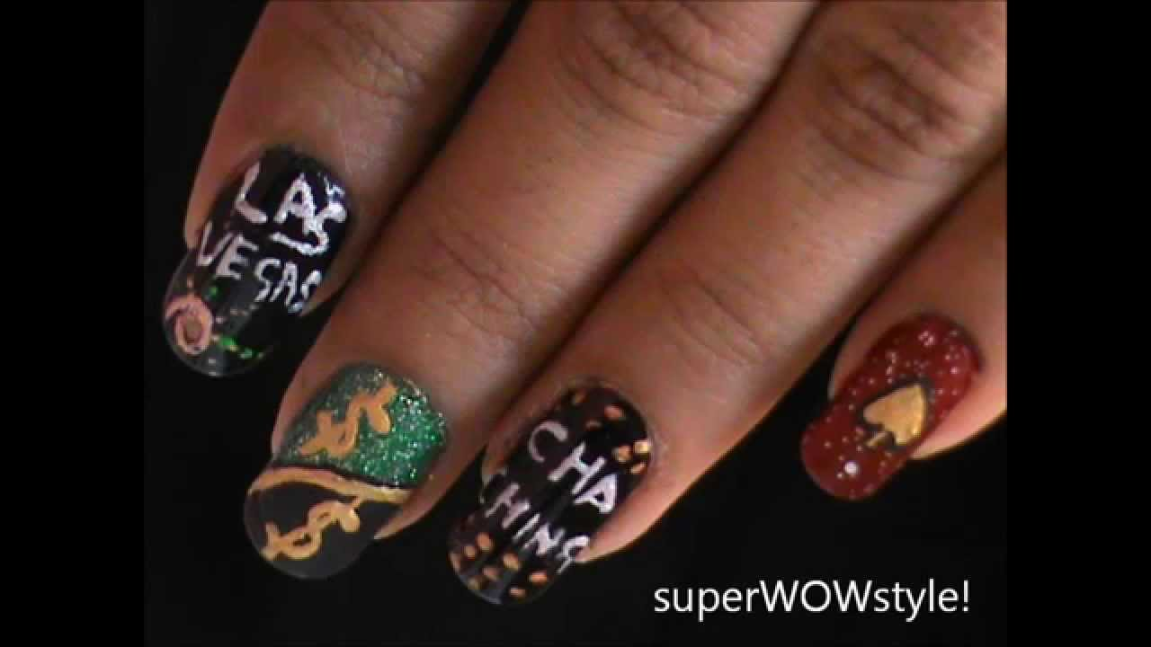 Las Vegas Nails Glitter Nail Art Designs Tutorial Youtube