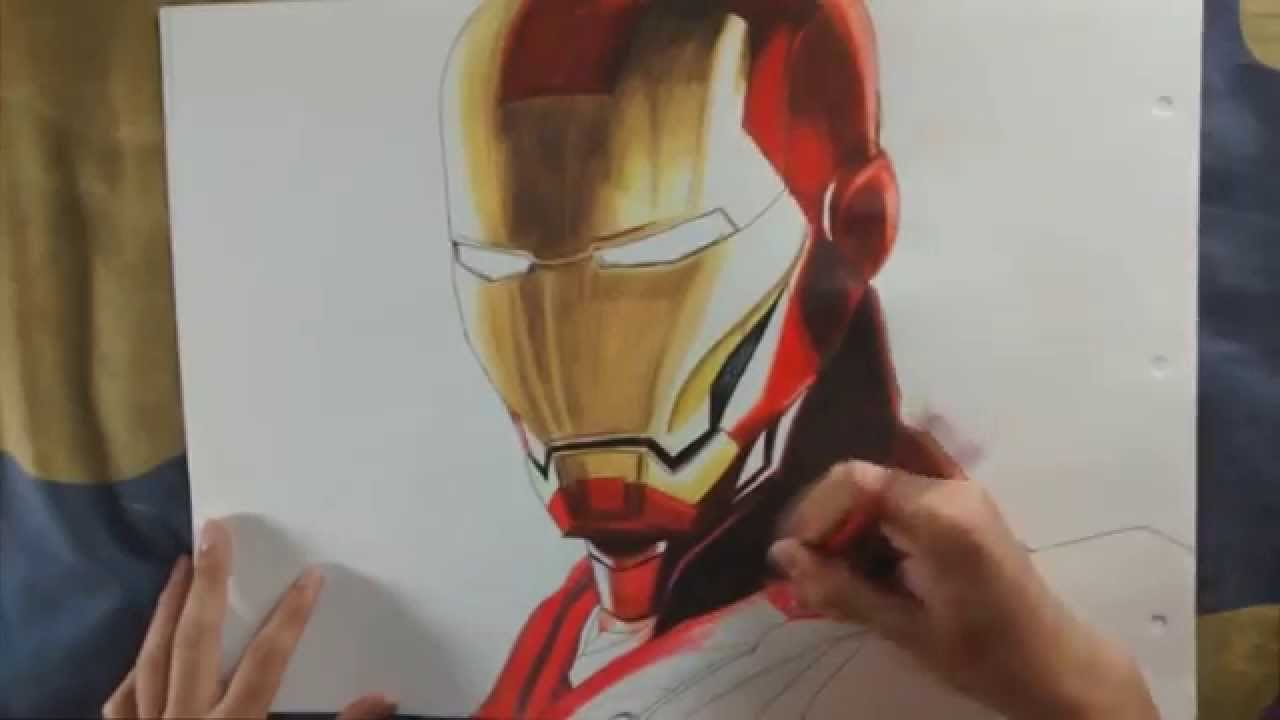 iron man- dibujo a color, color drawing of iron man - youtube