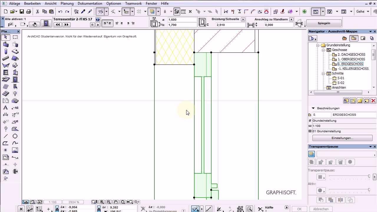Archicad 17 Test4 Fenster Und Turen Und Schichteinzuge Youtube