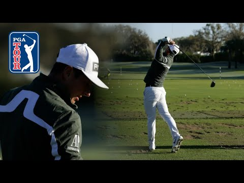 Viktor Hovland's range session before Round 2 at Arnold Palmer
