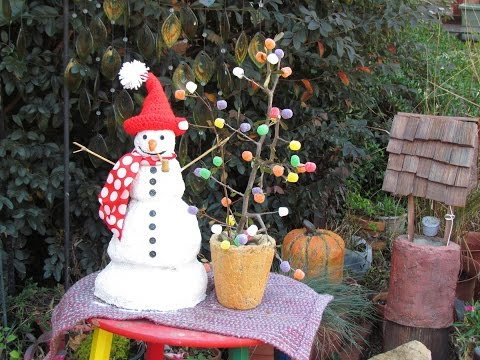 Portland Cement Bigger Snowman With Gumdrop Tree  In Ga