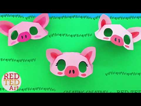 Paper Plate Pig Mask Template by Creating Creatives for Red Ted Art