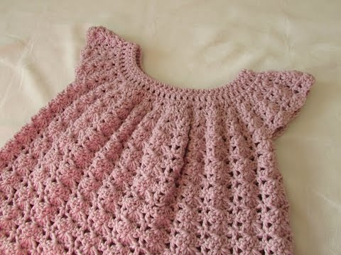 How to crochet a little girl's shell stitch dress / top / tunic