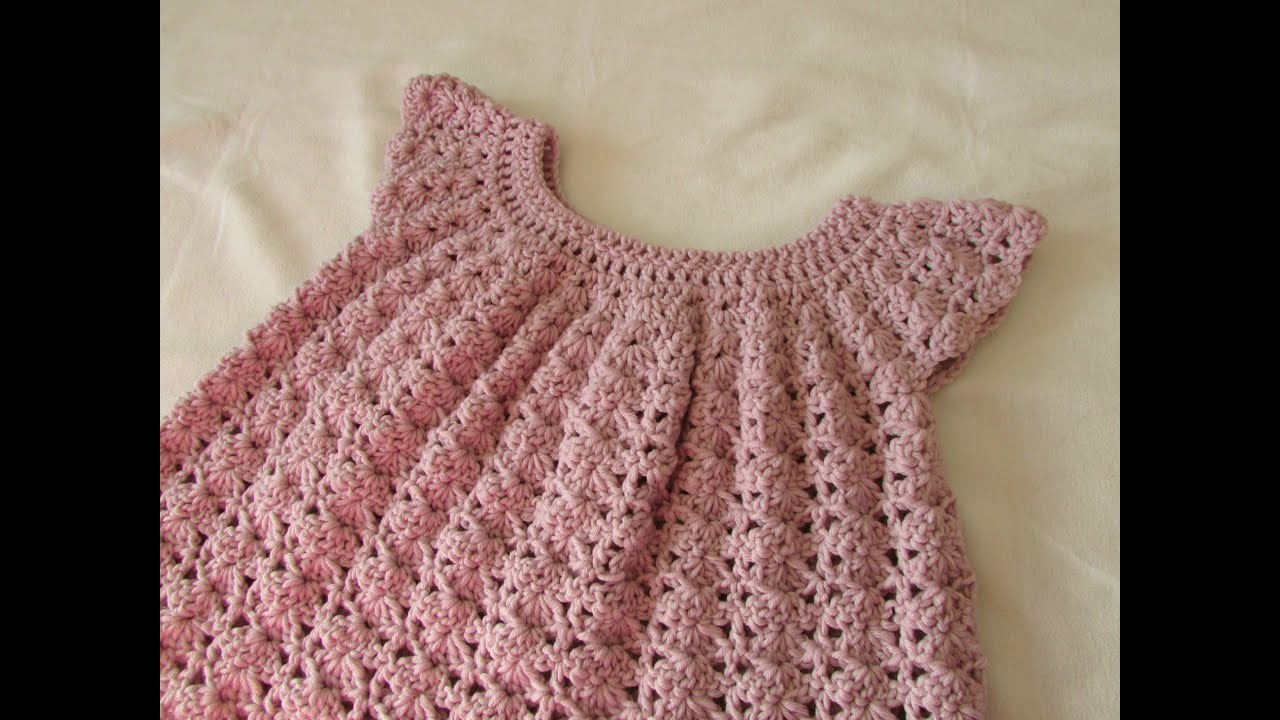How to crochet a little girl's shell stitch dress / top