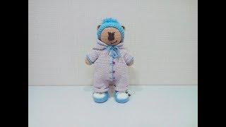 Одежда (комбинезон, кеды, шапка)  для медвежонка крючком (Сrochet teddy bear ).Часть 2.