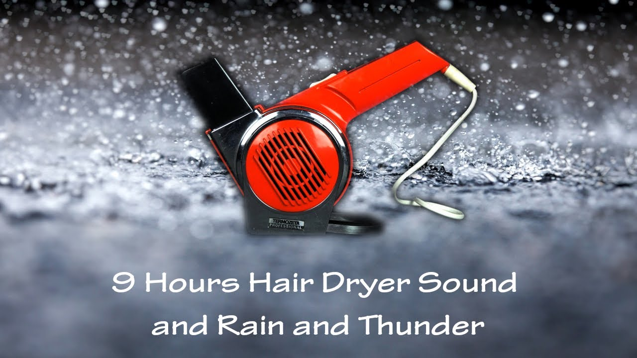 Hair Dryer Sound 5 Static and Rain and Thunder | ASMR | 9 Hours White Noise to Sleep and Relax