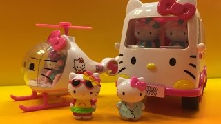 Hello Kitty Rescue Set with Emergecy Ambulance and Helicopter by DisneyToysReview