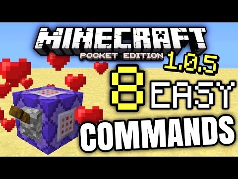 MCPE 1.0.5 - 8 COMMAND BLOCK COMMANDS! [Minecraft PE 1.0.5]