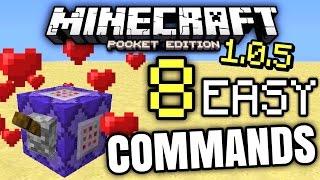 MCPE 1.0.5 - 8 COMMAND BLOCK COMMANDS! [Minecraft PE 1.0.5]