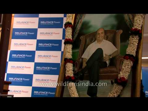 Preparations ahead of Reliance Power's IPO listing ceremony - Mumbai