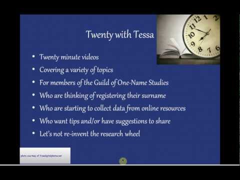 Twenty with Tessa - Using the FreeBMD.org Marriage Index.flv