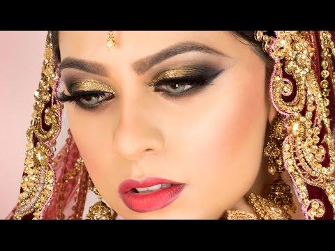 Gold Glitter Traditional Asian Bridal Makeup