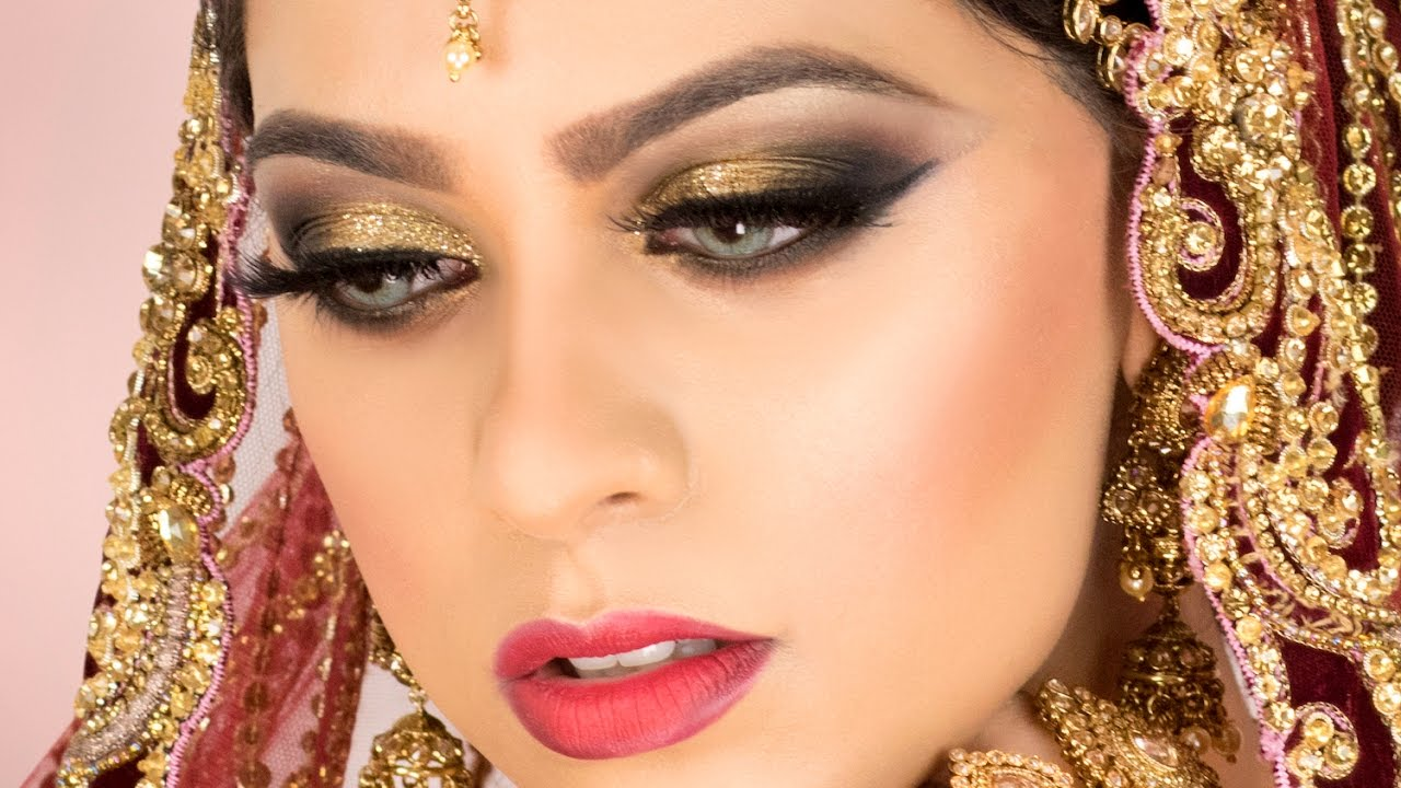 gold glitter traditional asian bridal makeup youtube