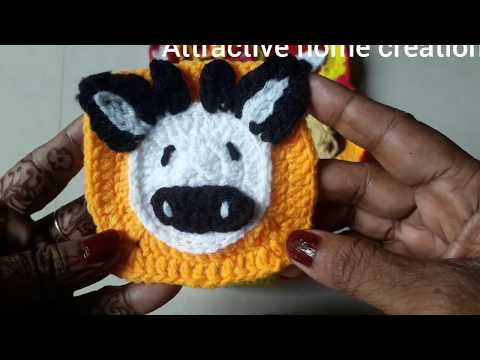 A beautiful crochet baby blanket/  A crochet animal caw /A crochet animal tablemat.....no# 6